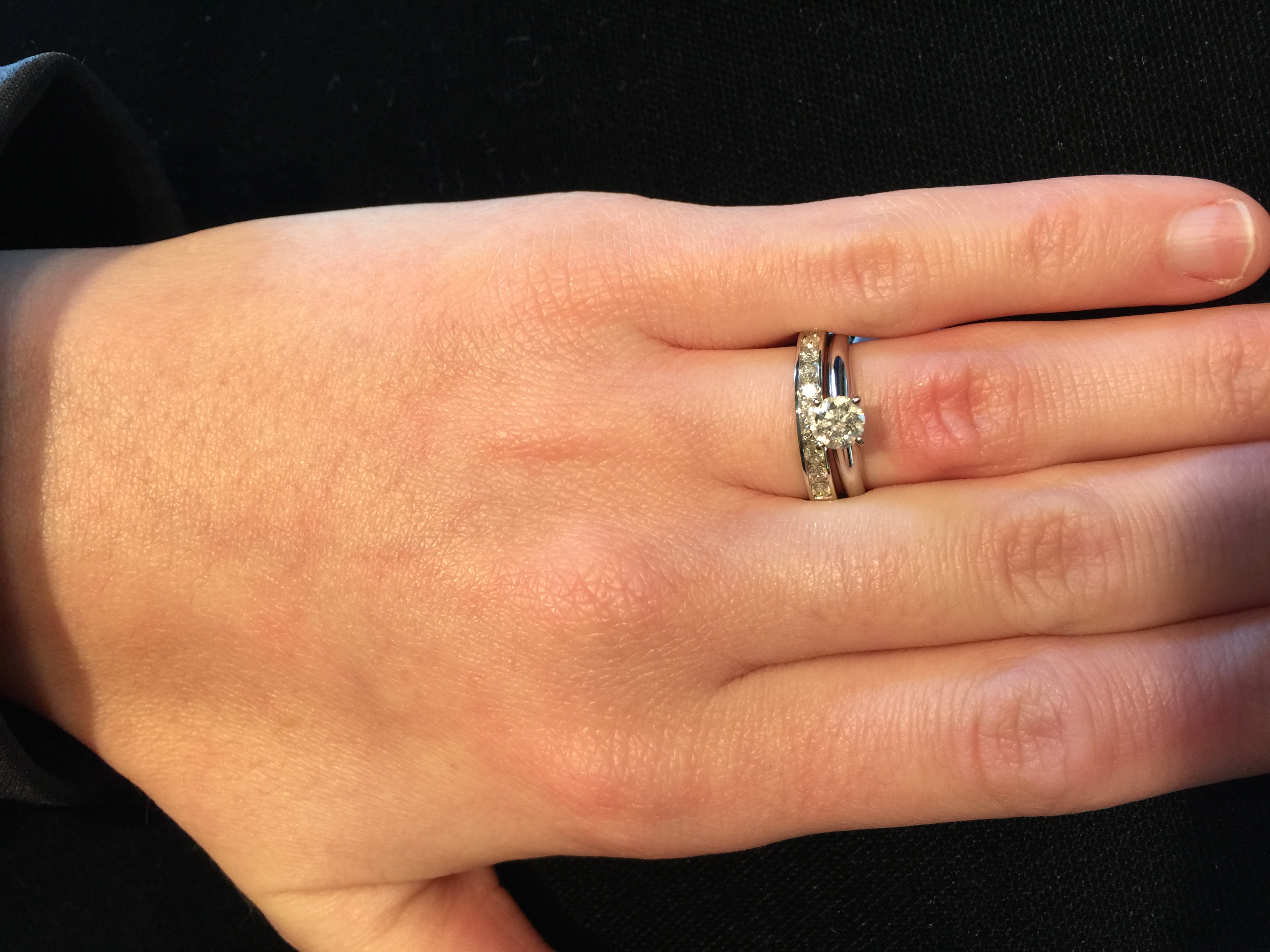 plain wedding band or diamonds 2 diamond wedding band The gold band would be white gold and the diamond band would be made thinner to match my e ring I m torn Thoughts Thank you