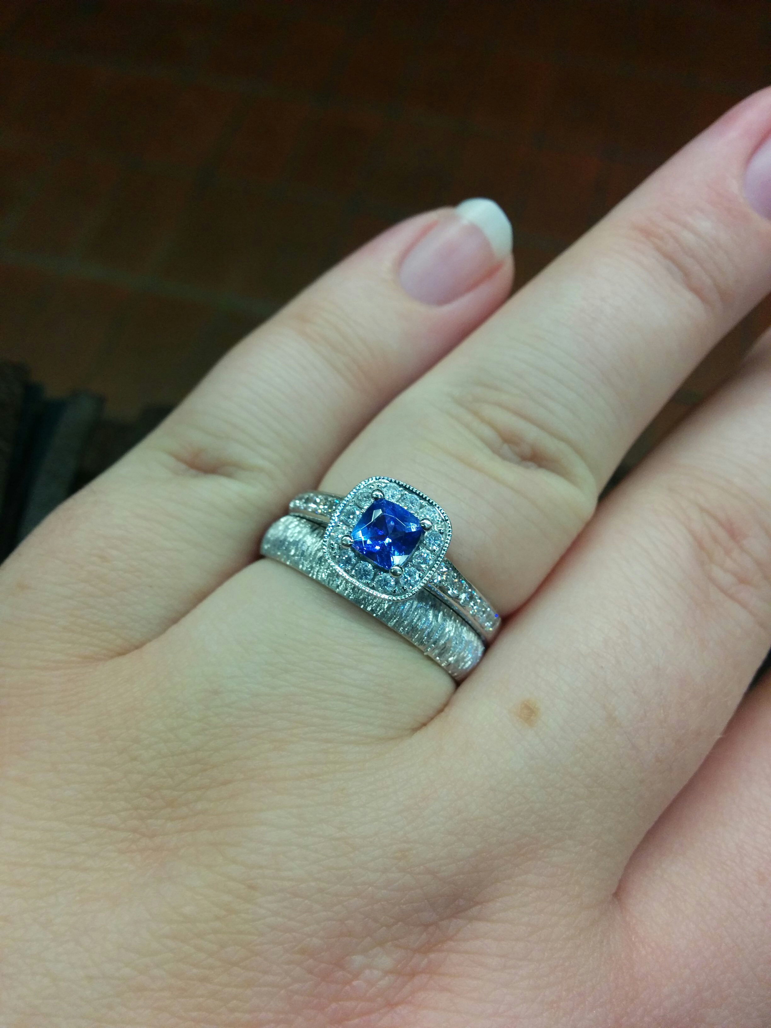 wedding ring set tanzanite wedding rings engagement ring with 5 carat tanzanite and 5 carat cwt of diamonds I love them so much and don t have anyone nearby to show them too