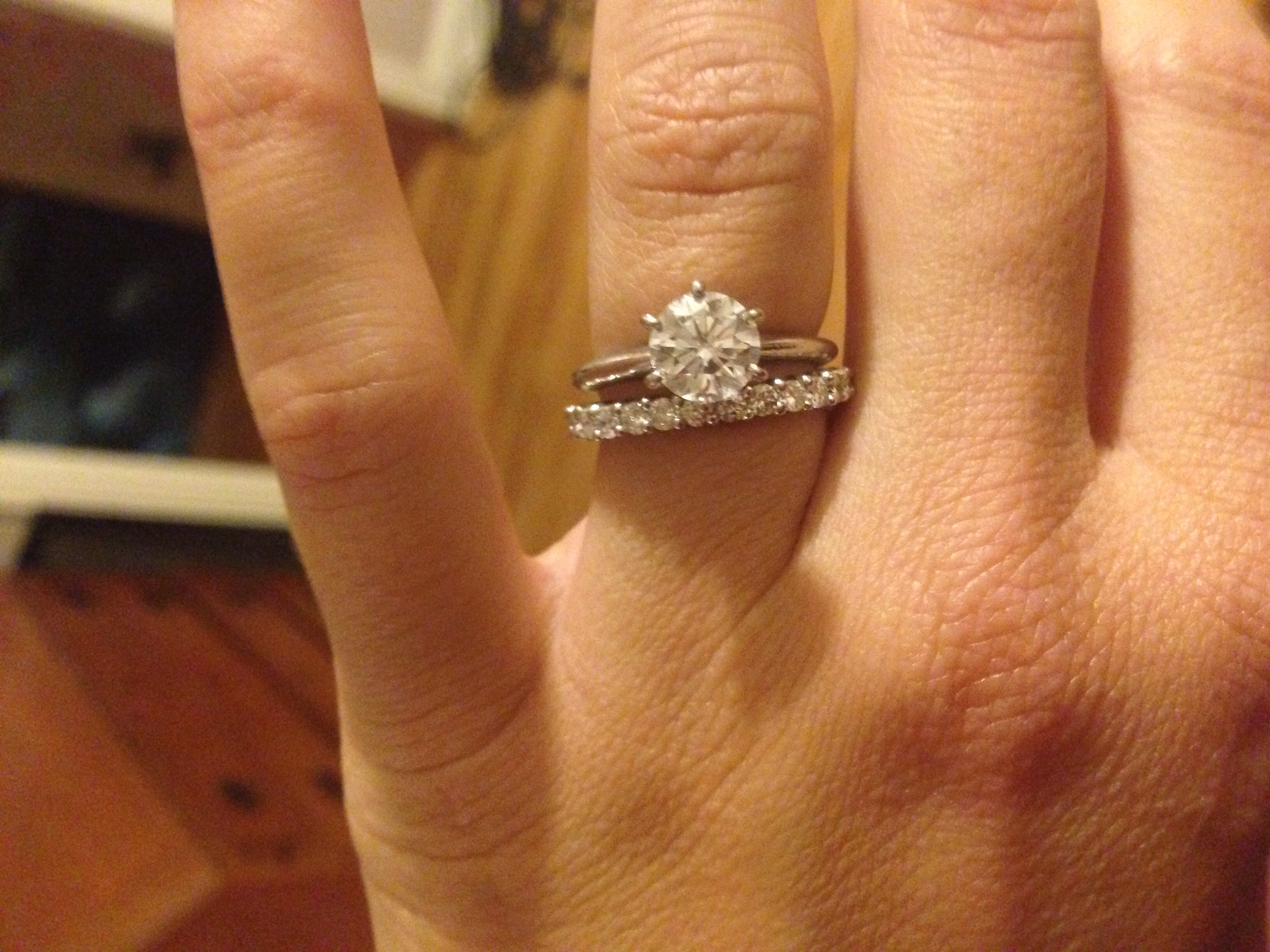 solitaire engagement paired with infinity band infinity diamond wedding band guessing my choice in wedding band I have a 1 25 carat engagement ring with knife edge I ve always thought it would pair nicely with an infinity ring