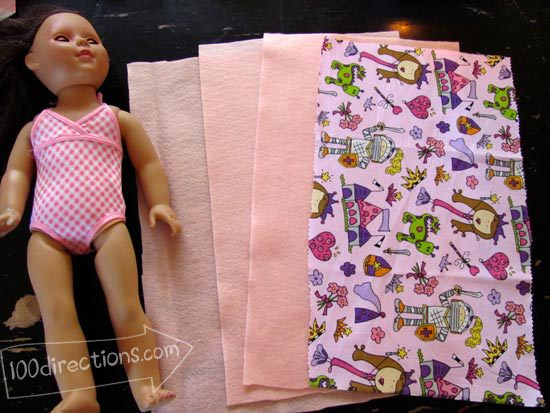 measuring fabric for doll sleeping bag