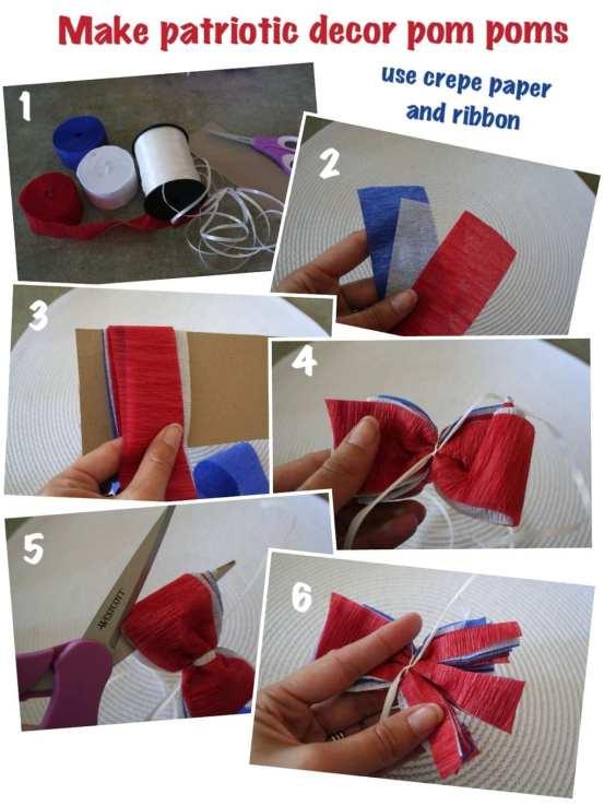 Patriotic crepe paper pom pom tutorial