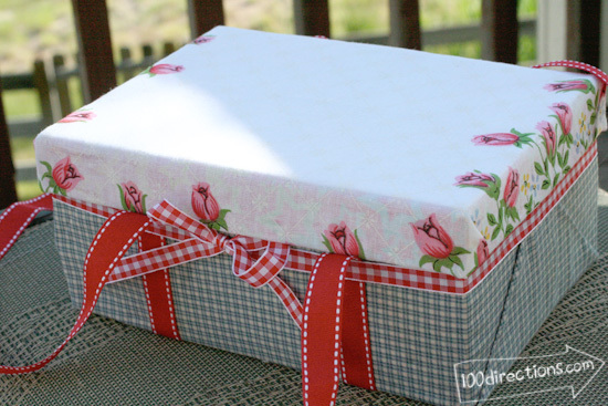 make a cute shoebox picnic basket 100 directions. Black Bedroom Furniture Sets. Home Design Ideas
