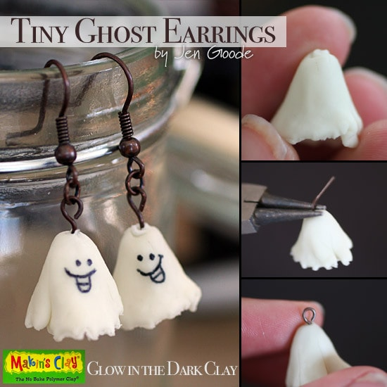 Tiny Ghost earrings by Jen Goode using Makins Clay
