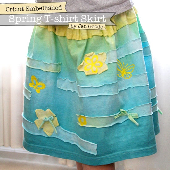 T-shirt Skirt with Cricut Cutouts by Jen Goode
