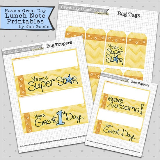 Have a Great Day Printable Lunch Notes by Jen Goode