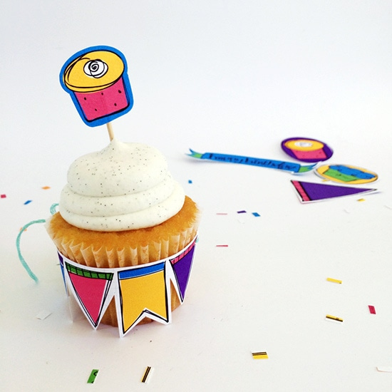 Rainbow Birthday Cupcake Accessories