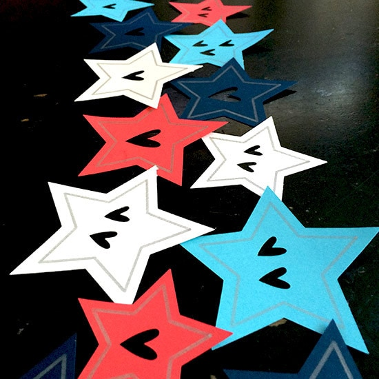 Arrange paper stars before gluing in place