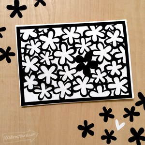 Make a Black and White flower card - quick Cricut project designed by Jen Goode