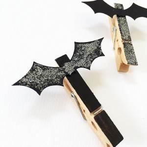 Glitter Bat Clips for Halloween Decor Accents
