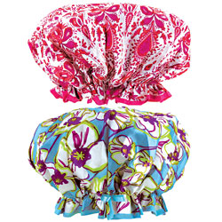 Pink And White & Floral Print Fashion Shower Caps