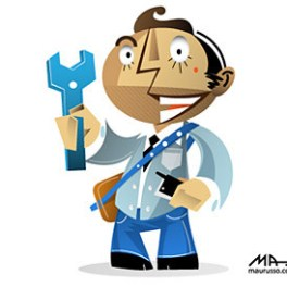 character-holding-a-spanner-and-telephone-free-vector