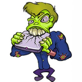 zombie-cartoon-character-destroying-a-notebook-free-vector