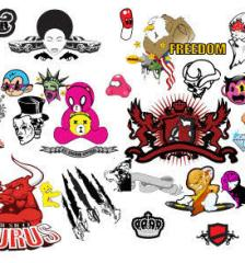 063_mixed_banner-cartoon-heraldry-skull-sneakers-women-free-vector