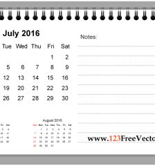 july-2016-printable-calendar-with-notes-free-vector