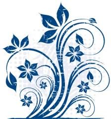 273-grunge-blue-floral-vector-image