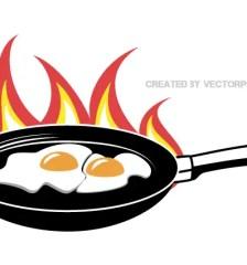 071-fried-eggs-frying-pan-vector-image