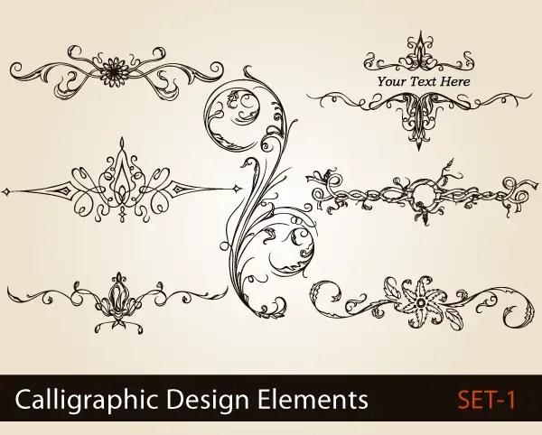 Calligraphic design elements vector set freevectors