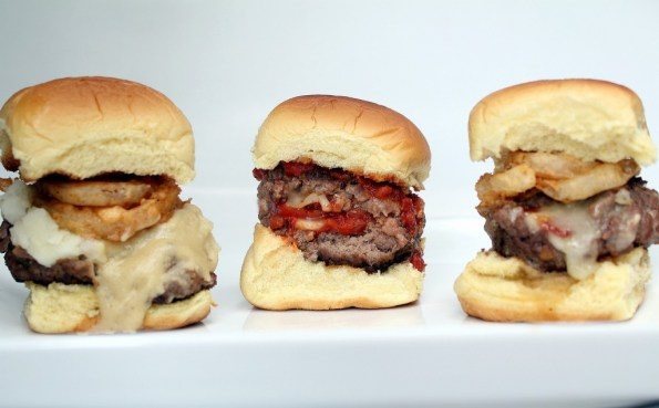 Stuffed sliders, brie, pizza, mashed potatoes, bacon, small, party food, gravy, pepperoni, marinara sauce,