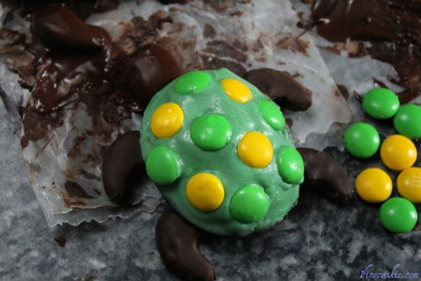Press m&m's into turtle shell