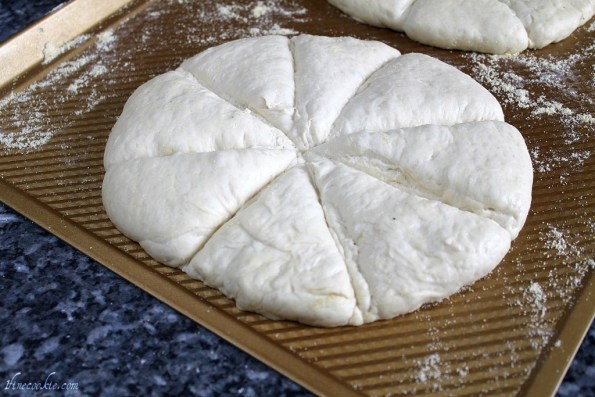 Cut slices through dough