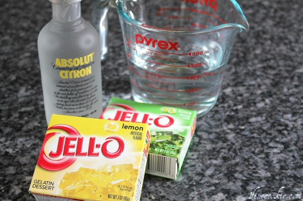 Water, liquor, and jello