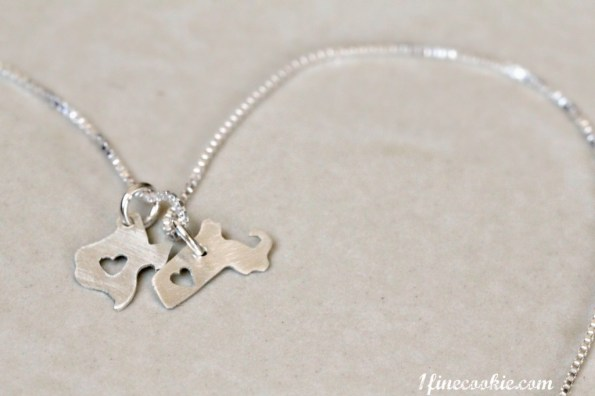 texas, massachusetts, state necklace, jewelry