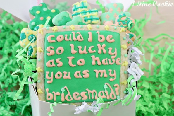 Be my bridesmaid cookies, Saint Patricks Day Themed by 1 Fine Cookie, shamrock cookies, green and orange, cookies, sugar, cut out, decorated, how to make, recipe, dessert, st patty's day, st paddy's day, saint patrick's day, plaid, polka dot, patter, shamrocks, wedding, ideas, bride, bridesmaids, plaid, chevron, paisley, royal icing, coral, inspiration,