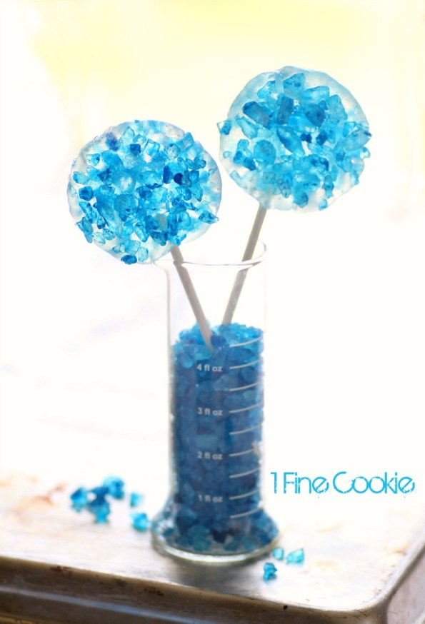 Breaking Bad Rock Candy Science Lollipops and Candy by 1 Fine Cookie, Breaking Bad, scientist, rock candy, how to make, diy, ring, jewelry, pop, blue, rainbow, colorful, party, theme, ideas, meth, walt, jessie, candy, recipe, food, dessert, cute, party, theme, wearable, diy, food, craft, boil sugar, hard crack,