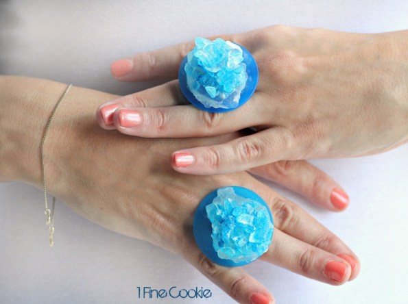 Breaking Bad Scientist Candy Rings by 1 Fine Cookie, Breaking Bad, scientist, rock candy, how to make, diy, ring, jewelry, pop, blue, rainbow, colorful, party, theme, ideas, meth, walt, jessie, candy, recipe, food, dessert, cute, party, theme, wearable, diy, food, craft, boil sugar, hard crack,