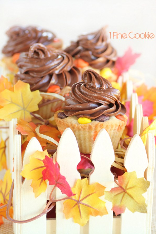 Peanut Butter Reese's Cookie Cupcakes by 1 Fine Cookie , how to, easy,, baking, recipe, diy, video, cooking, baking, bake, cookie, dough, cupcakes, autumn, thanksgiving, orange, yellow, brown, sugar, cookie, nutella, chocolate, peanut, butter, pieces, reeses, spread, hazelnut, frosting,