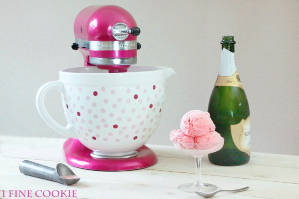Pink Champagne Ice cream Recipe, pink, champagne, ice cream, cook for the cure, breast cancer, awareness, month, how to make, homemade, recipe, custard, incorporate alcohol, alcoholic, boozy, infused, vanilla, kitchenaid, mixer, bowl, maker, attachment, tart, rose, flower, tutorial, diy, unique, mother's, day, valentine's, new year's, eve, ideas, entertaining, dinner, party, menu, birthday, girls, women, men, girly, susan, g., komen, bean, ceramic, polka, dot, blog, bowl, creamy,