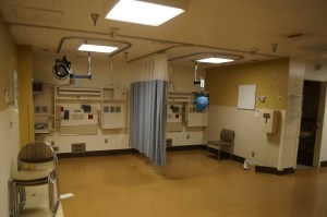 We remove patient monitors and wall fixtures, curtains and lights