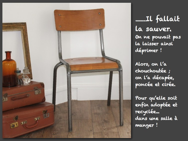 Chaise-ecole-type Mullca-renovee-relookee