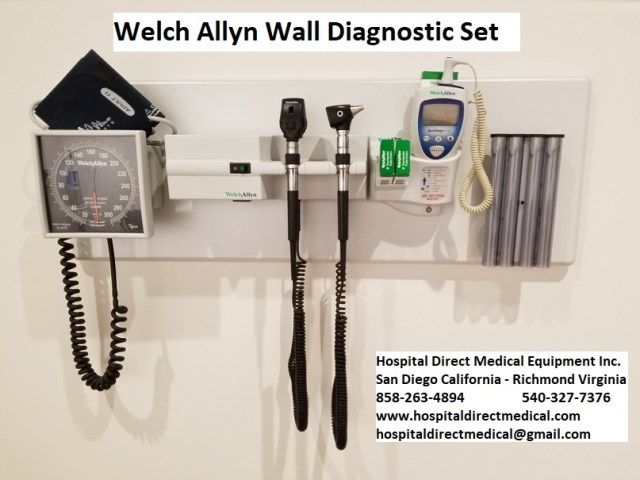 Welch Allyn wall diagnostic kits otoscope opthalmascope, blood pressure, temperature and board. 858-263-4894