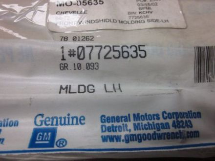Engines   Components for Sale   Page  601 of   Find or Sell Auto parts     Gm nos 68 72 chevelle lh front window molding gm  7725635