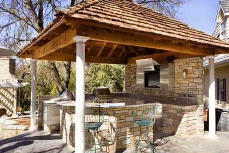 rustic outdoor kitchen with gazebo