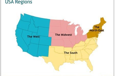 Map Of North South East And West - North eastern usa map