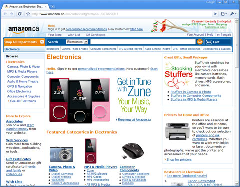 Zune-Tastic Amazon.ca Homepage