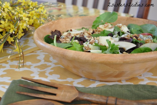 apple, walnut, and blue cheese salad