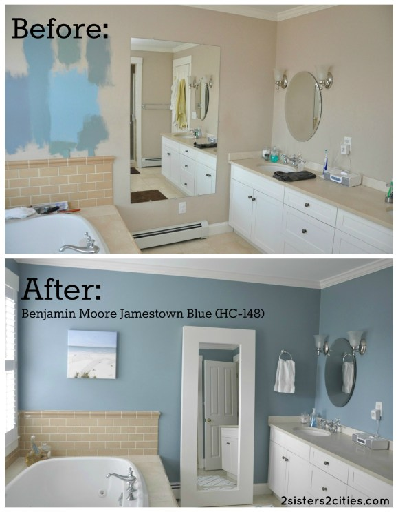 Master Bathroom Paint Color Reveal Jamestown Blue Sisters Cities - Pictures of bathroom paint colors