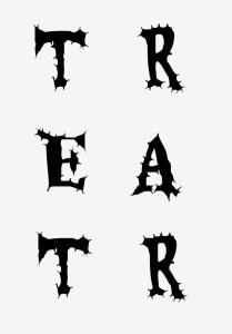 Template for the letters T-R-E-A-T-R