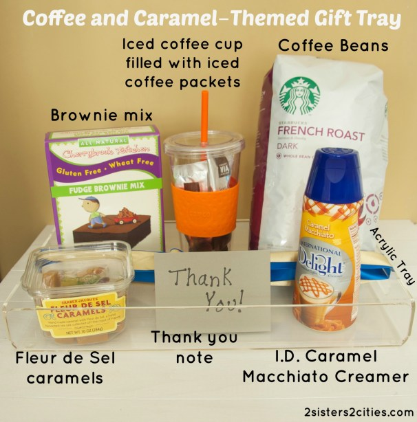 coffee and caramel‐themed gift tray