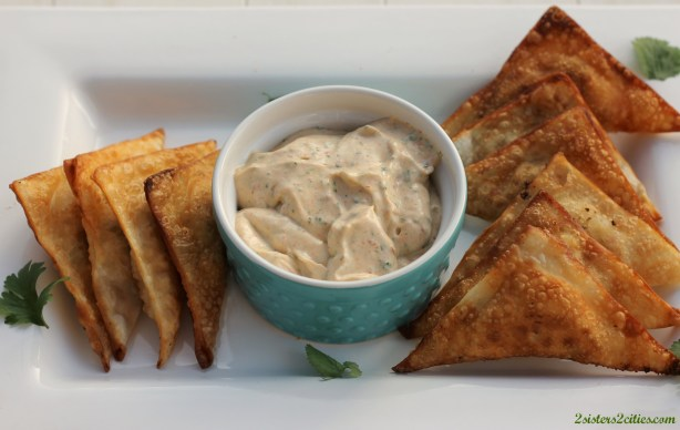 Southwest Wontons and dip