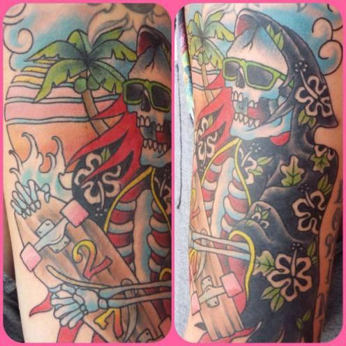 Skater Skull Dude | Aubrey | 39th Street Tattoo Kansas City