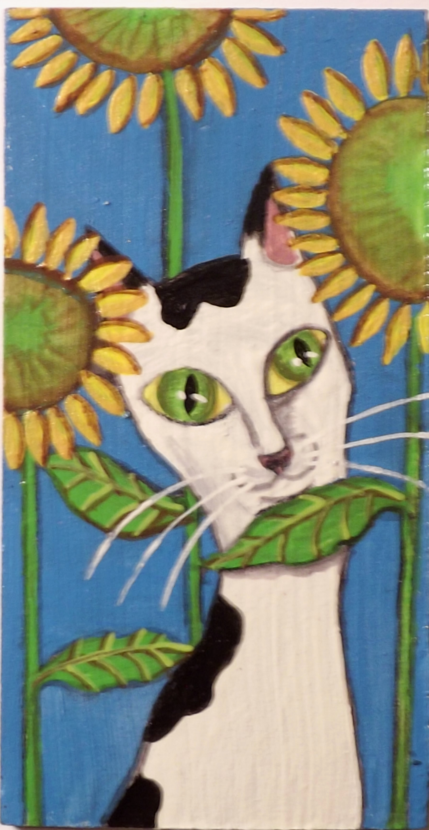 Black and White Cat with Sunflowers 2.5 by 4.5 original painting on wood