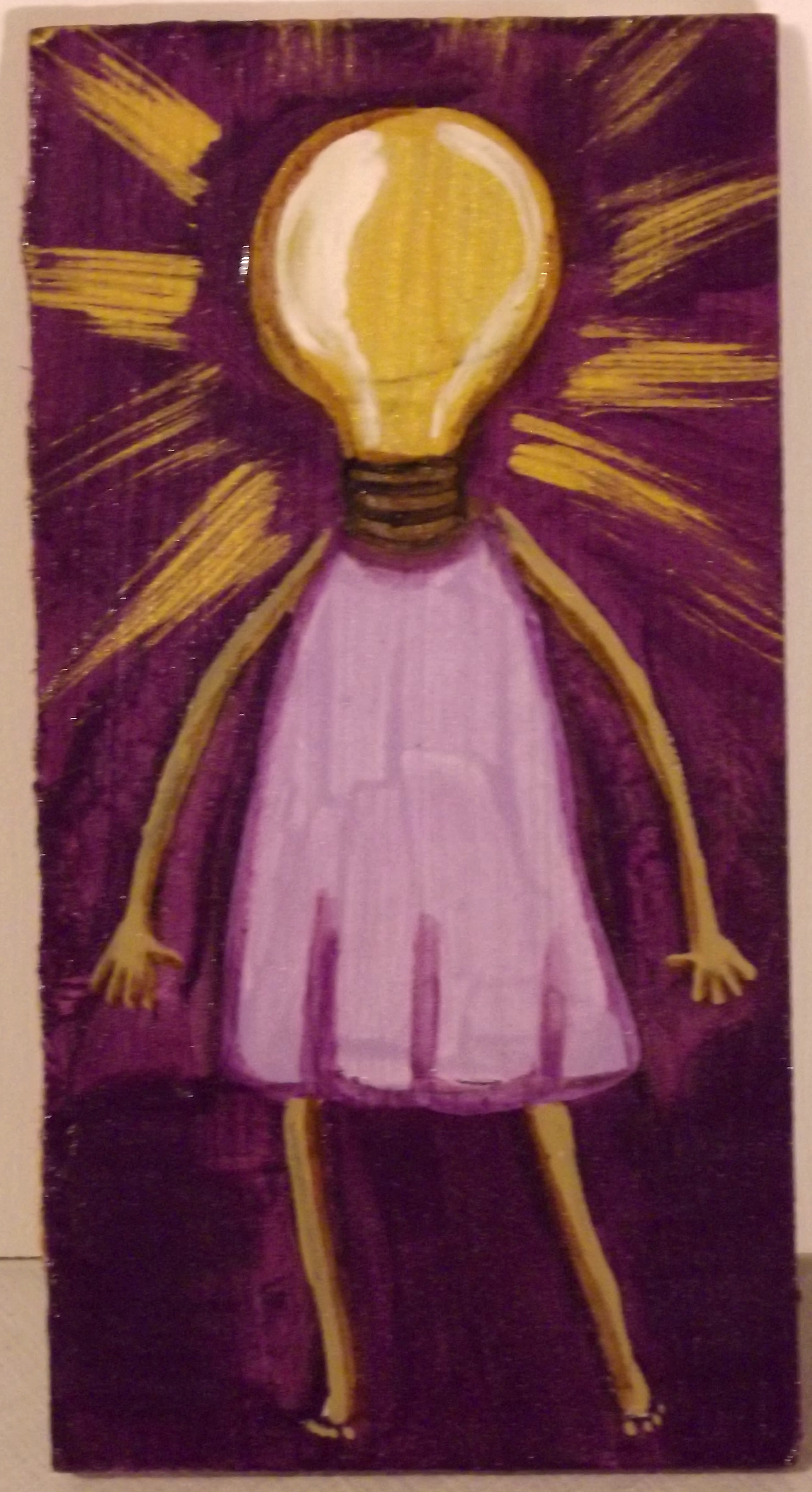 A Woman of Great Ideas 2.5 x 4.5 painting on wood