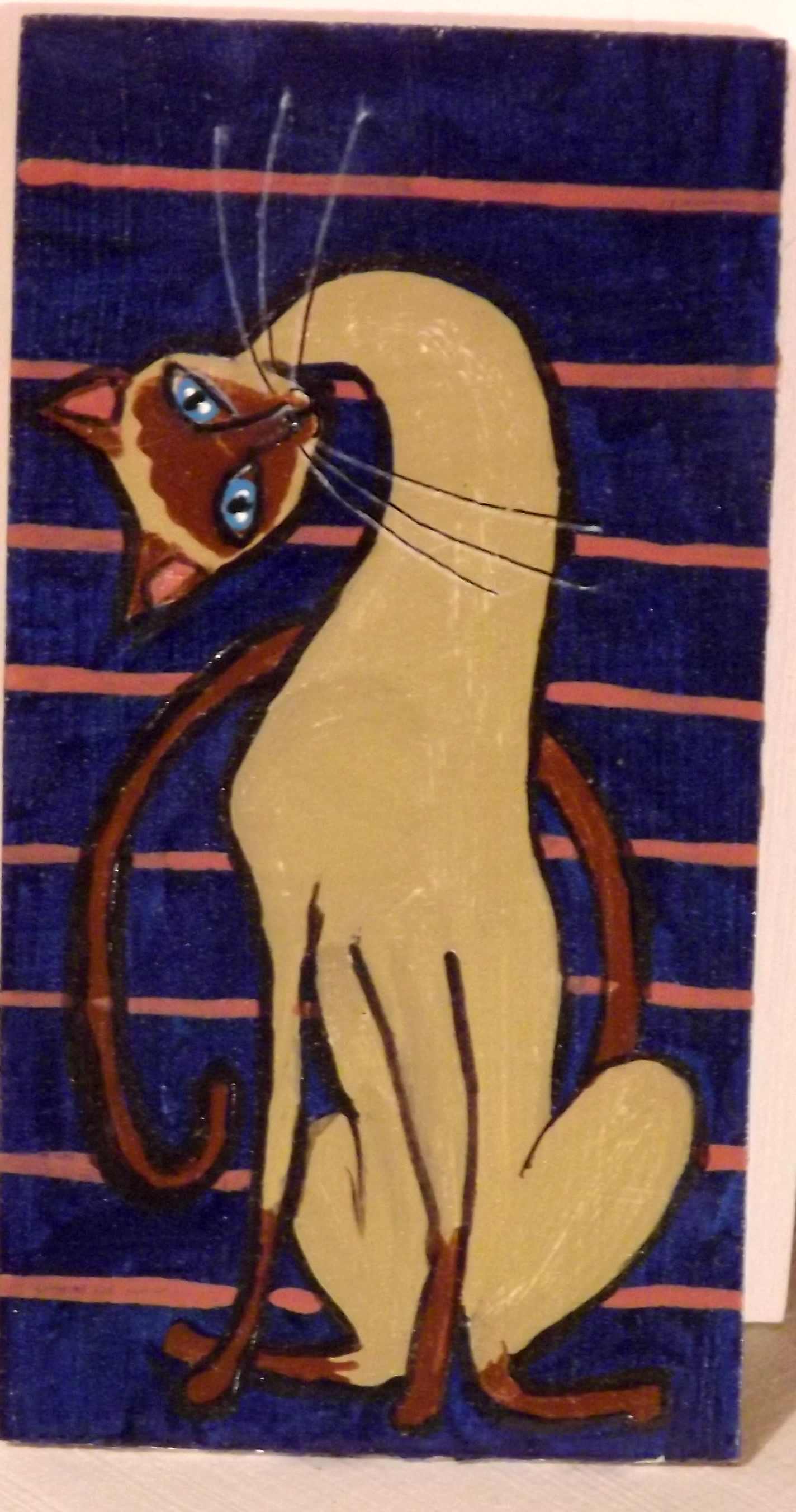 Sideways Siamese Cat on wood 2.5 by 4.5 inches