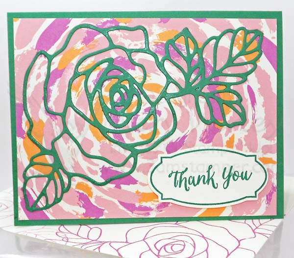 Emerald Envy Rose Thank You Card - visit http://www.3amstamper.com