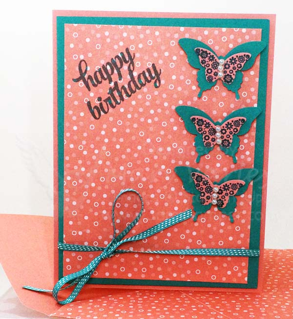 Flirty Flamingo Butterfly Birthday Card - Visit http://www.3amstamper.com
