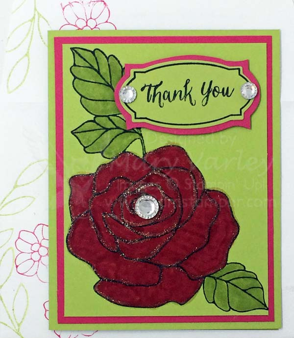 Pear Pizzazz Rose Thank You Card - Visit http://www.3amstamper.com